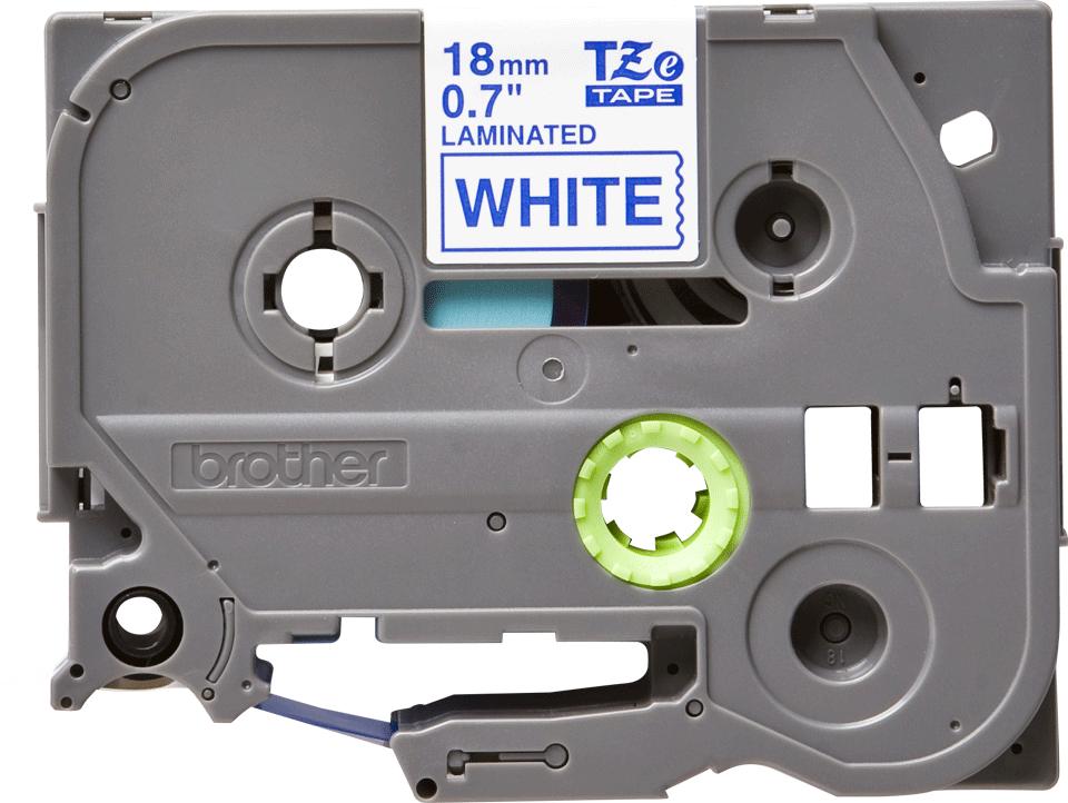 Casetă cu bandă de etichete originală Brother TZe-243 – albastru pe alb, lățime de 18mm