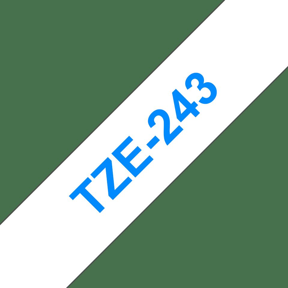 Casetă cu bandă de etichete originală Brother TZe-243 – albastru pe alb, lățime de 18mm 3