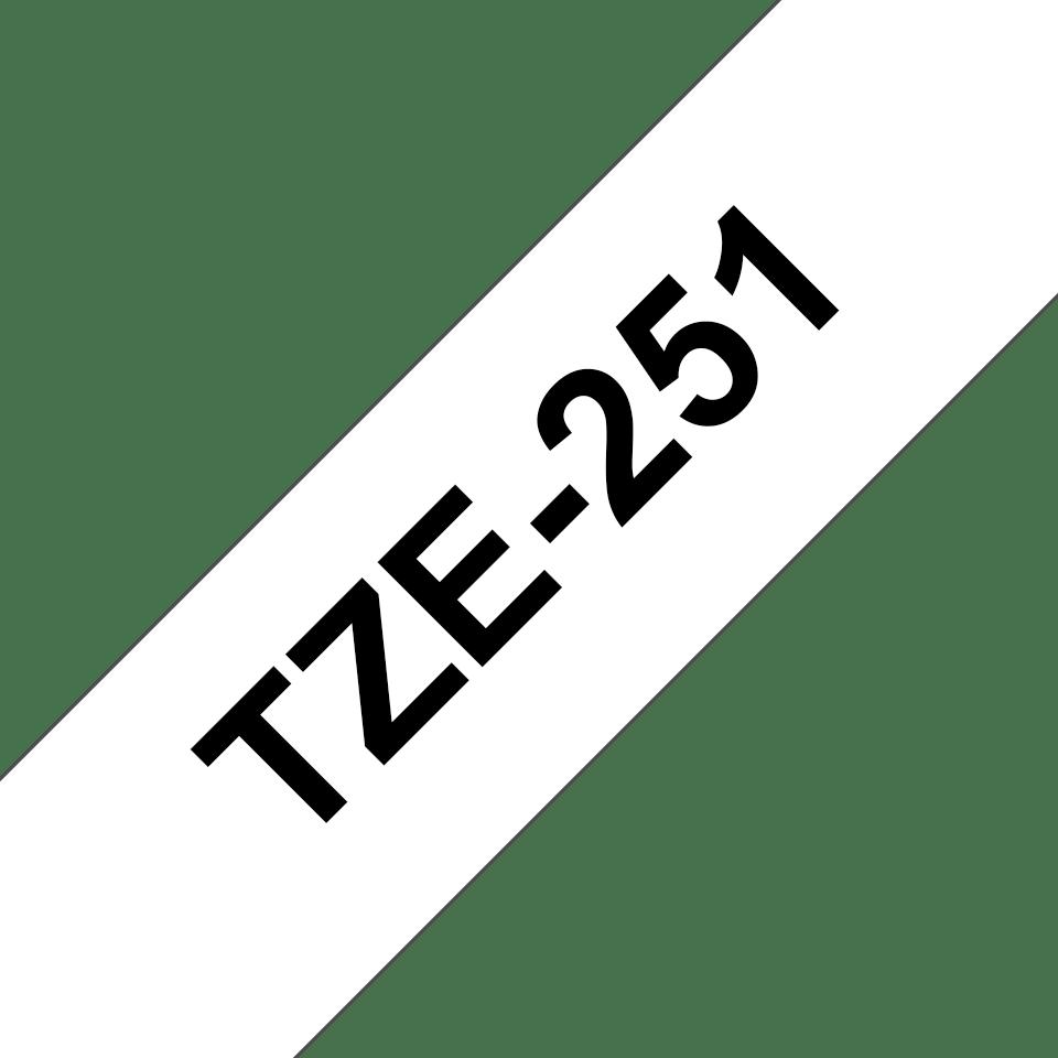 Casetă cu bandă de etichete originală Brother TZe-251 – negru pe alb, 24mm lățime 3