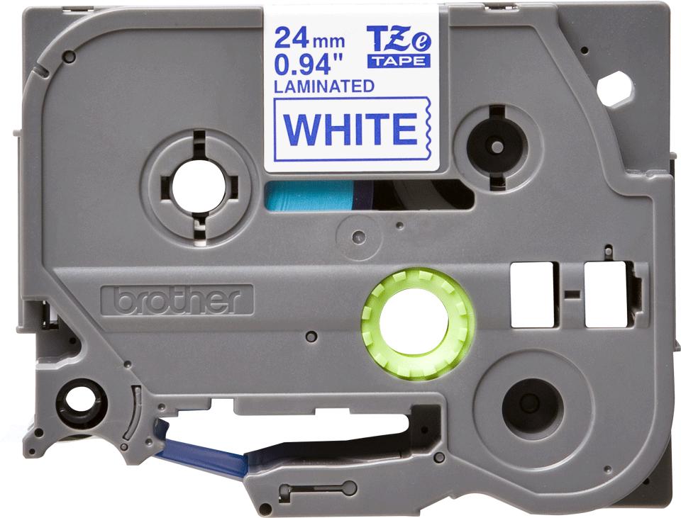 Casetă cu bandă de etichete originale Brother TZe-253 – albastru pe alb, lățime de 24mm