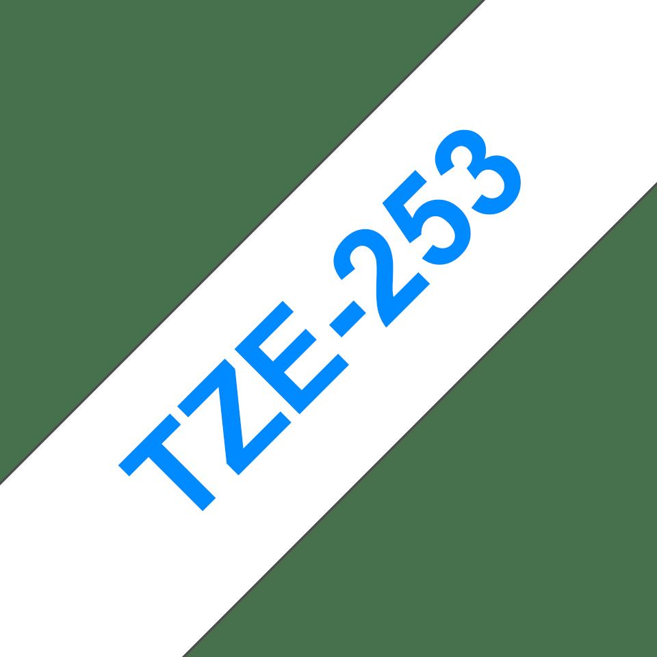 Casetă cu bandă de etichete originale Brother TZe-253 – albastru pe alb, lățime de 24mm 3