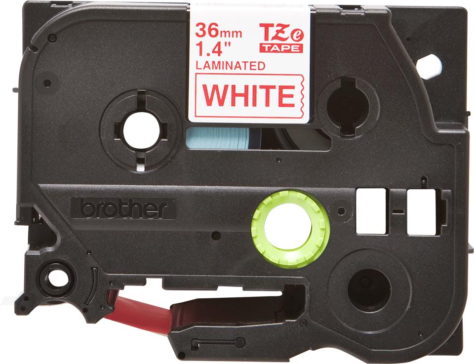 Casetă cu bandă de etichete originală Brother TZe-262 – roșu pe alb, lățime de 36mm