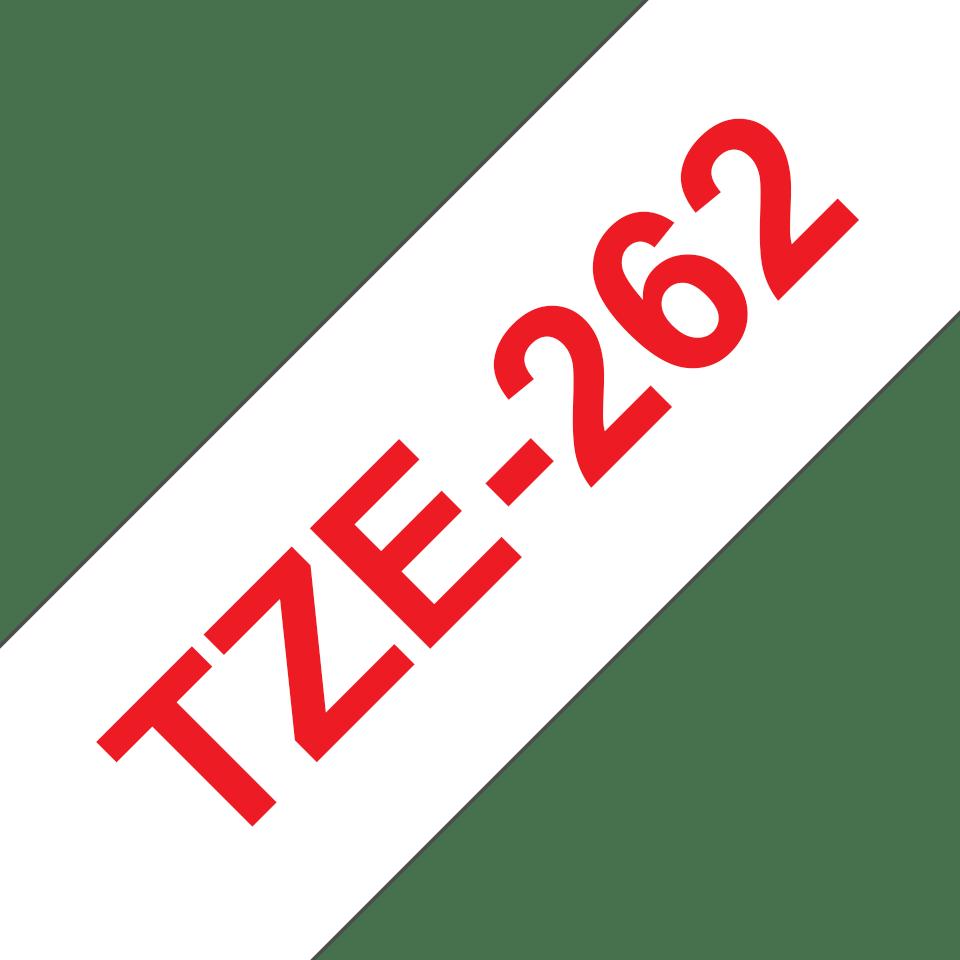 Casetă cu bandă de etichete originală Brother TZe-262 – roșu pe alb, lățime de 36mm 3