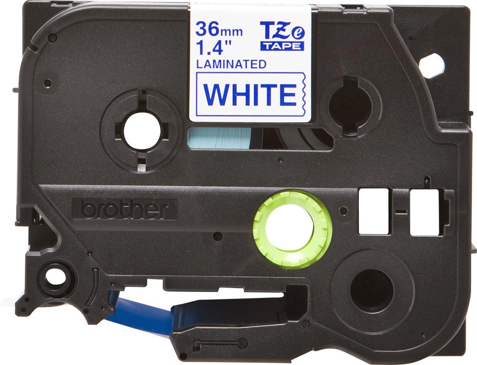 Casetă cu bandă de etichete originală Brother TZe-263 – albastru pe alb, lățime de 36mm