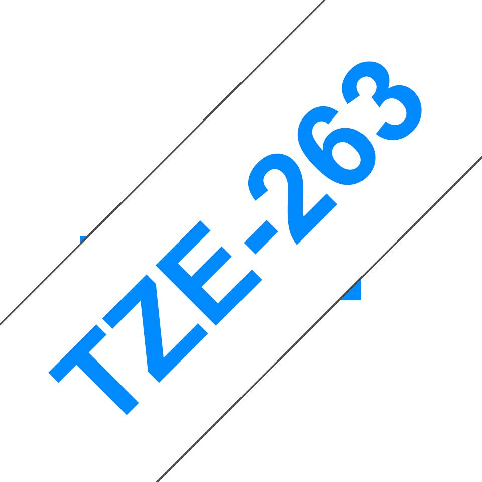 Casetă cu bandă de etichete originală Brother TZe-263 – albastru pe alb, lățime de 36mm 3