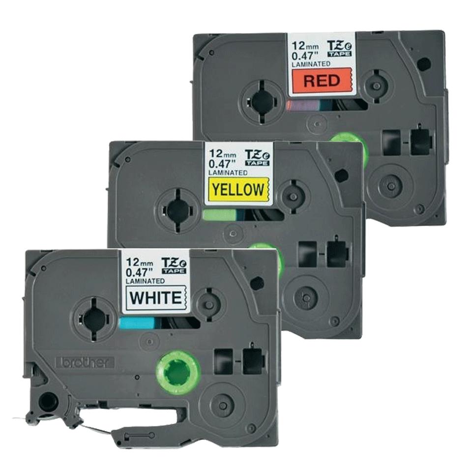 Casete cu bandă de etichete originale Brother TZe-31M3 – negru pe roșu, alb, galben cu lățimea de 12mm 2