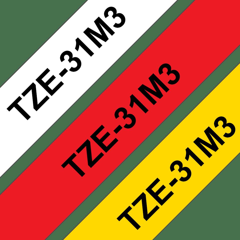 Casete cu bandă de etichete originale Brother TZe-31M3 – negru pe roșu, alb, galben cu lățimea de 12mm 3