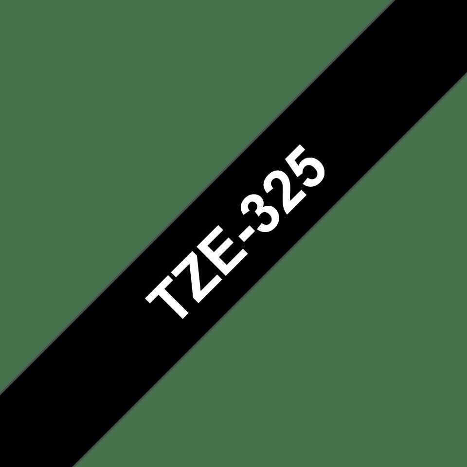 Casetă cu bandă de etichete originală Brother TZe-325 – alb pe negru, 9mm lățime 3