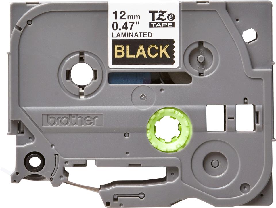 Casetă cu bandă de etichete originală Brother TZe334 – auriu pe negru de 12 mm lățime 2