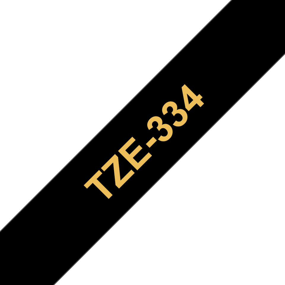 Casetă cu bandă de etichete originală Brother TZe334 – auriu pe negru de 12 mm lățime