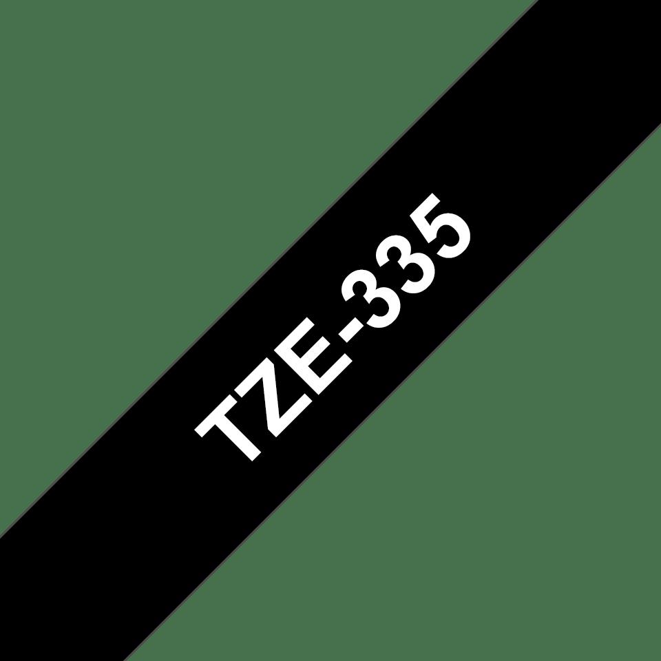 Casetă cu bandă de etichete originală Brother TZe335 – alb pe negru de 12 mm lățime 3
