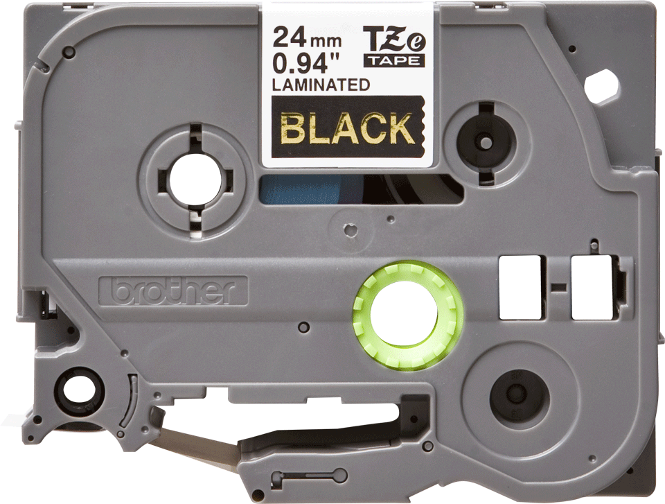Casetă cu bandă de etichete originală Brother TZe-354 – auriu pe negru, lățime de 24mm
