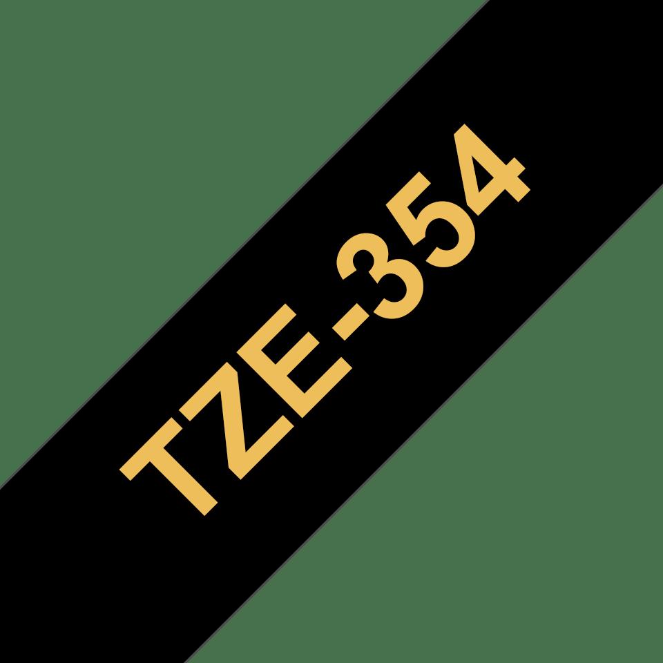 Casetă cu bandă de etichete originală Brother TZe-354 – auriu pe negru, lățime de 24mm 3