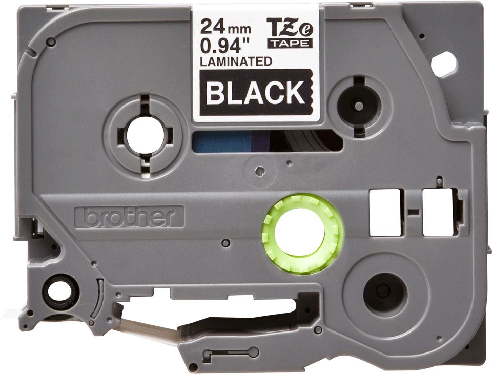 Casetă cu bandă de etichete originală Brother TZe-355 – alb pe negru, lățime de 24mm