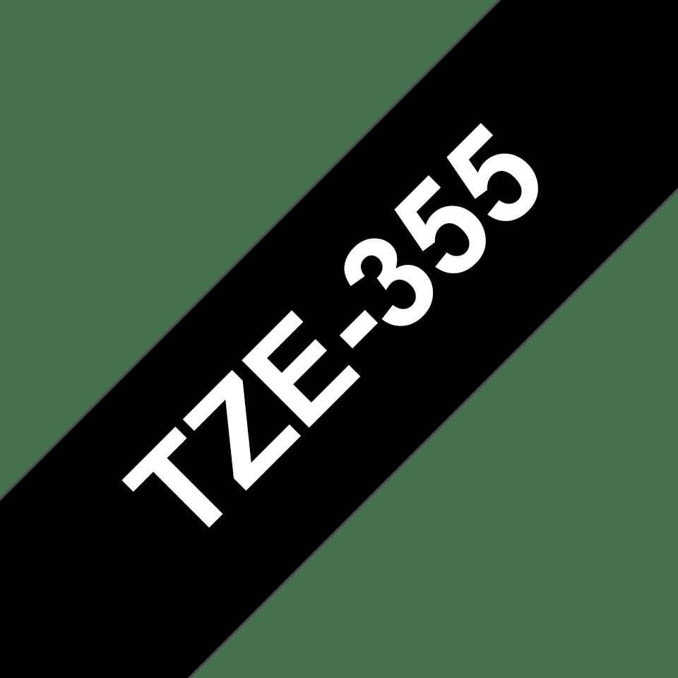 Casetă cu bandă de etichete originală Brother TZe-355 – alb pe negru, lățime de 24mm 3