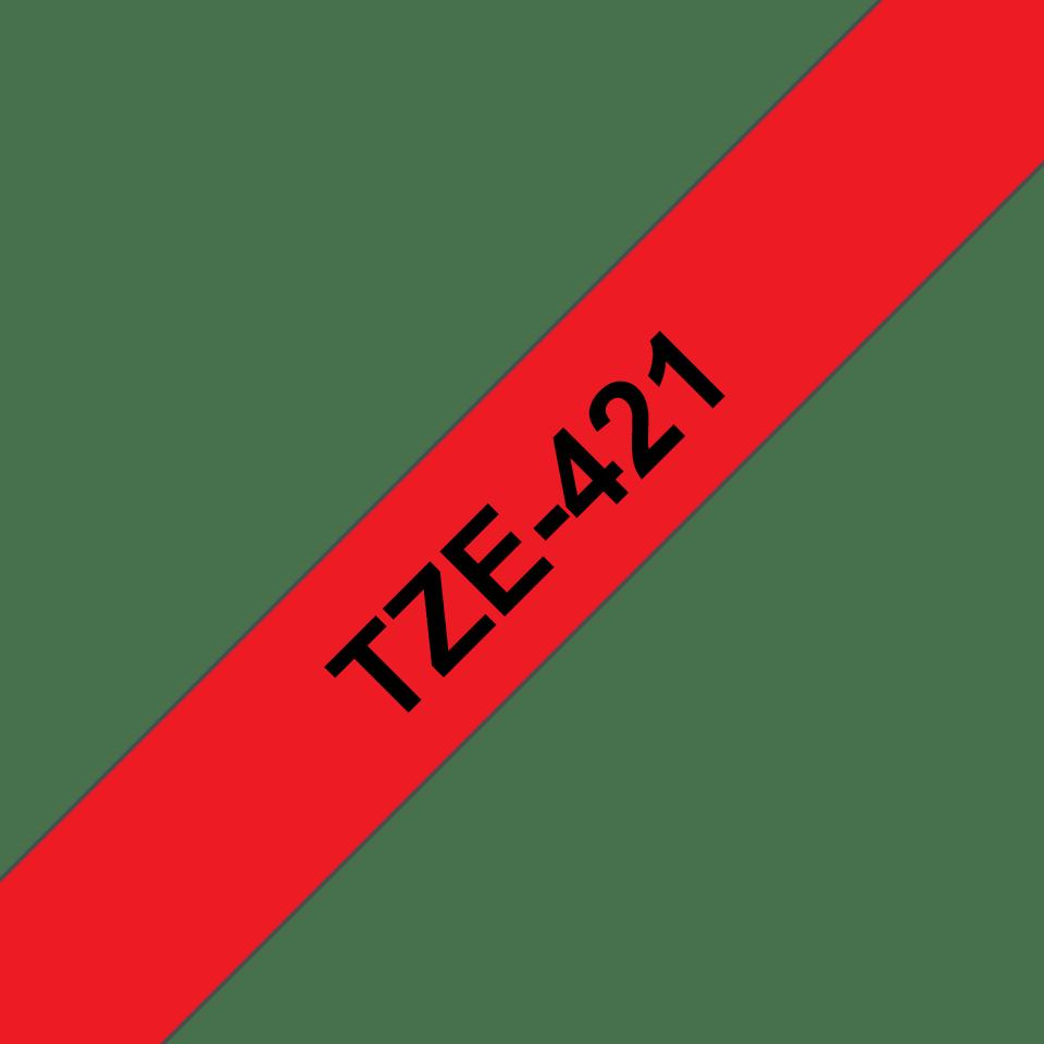 Casetă cu bandă de etichete originală Brother TZe-421 – negru pe roșu, 9mm lățime 3