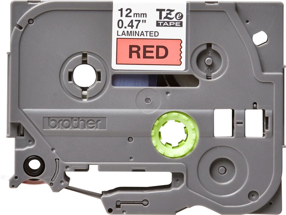 Casetă cu bandă de etichete originală Brother TZe-431 – negru pe roși, 12mm lățime