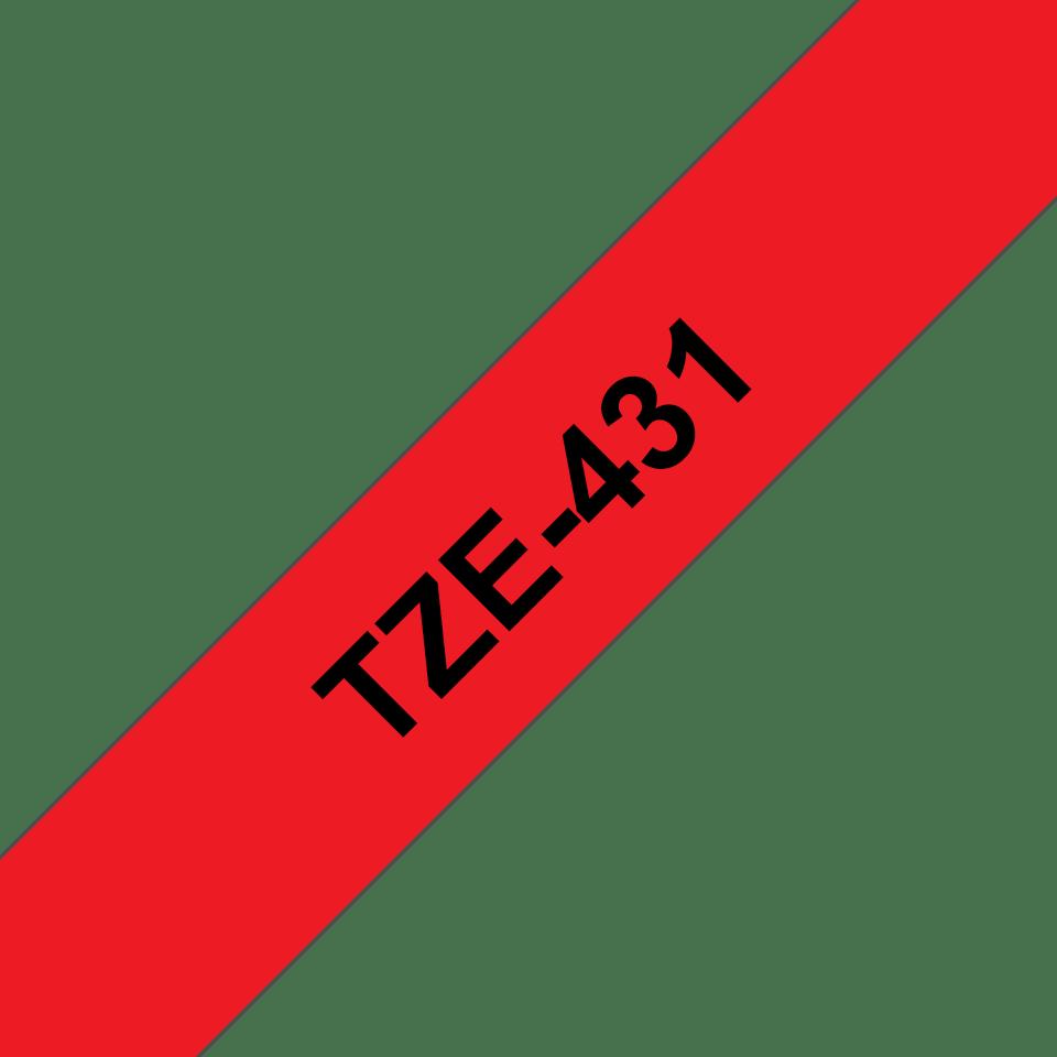 Casetă cu bandă de etichete originală Brother TZe-431 – negru pe roși, 12mm lățime 3