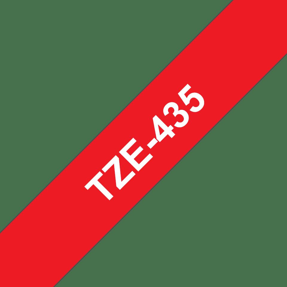 Casetă cu bandă de etichete originală Brother TZe-435 – alb pe roșu, lățime de 12mm 3