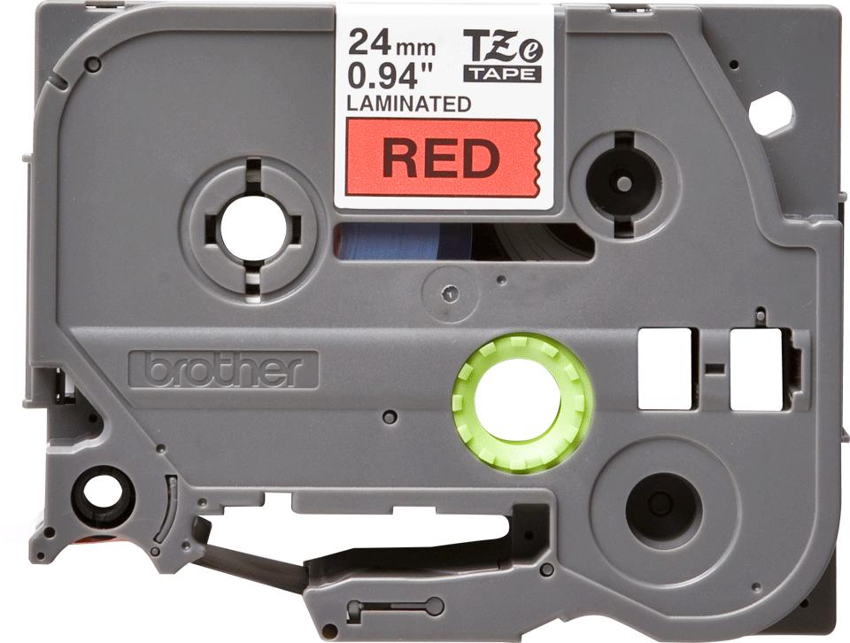 Casetă cu bandă de etichete originală Brother TZe-451 – negru pe roșu, 24mm lățime