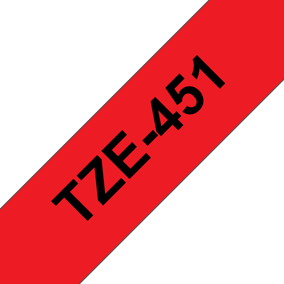 Casetă cu bandă de etichete originală Brother TZe-451 – negru pe roșu, 24mm lățime 3