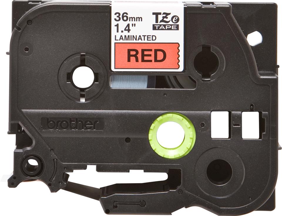 Casetă cu bandă de etichete originală Brother TZe-461 – negru pe roșu, lățime de 36mm