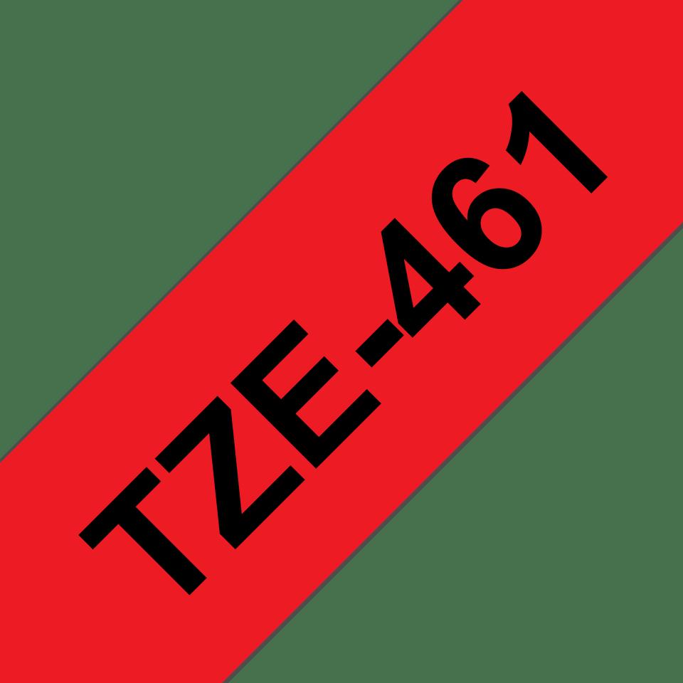 Casetă cu bandă de etichete originală Brother TZe-461 – negru pe roșu, lățime de 36mm 3