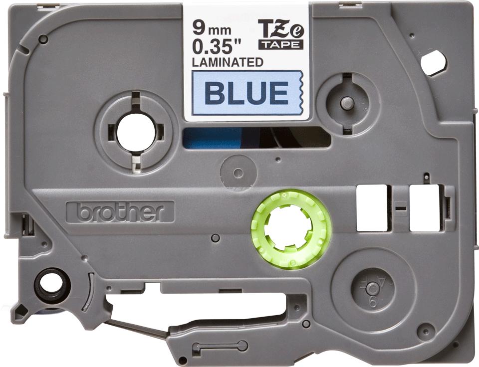 Casetă cu bandă de etichete originală Brother TZe-521 – negru pe albastru, lățime de 9mm