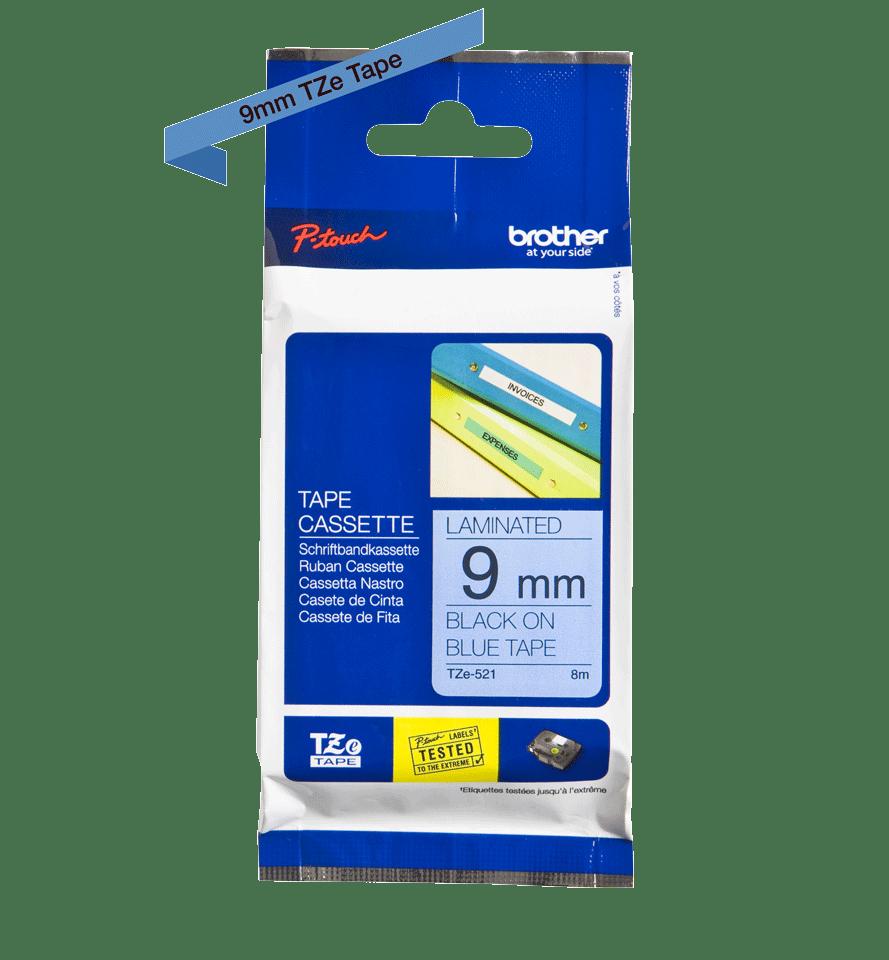Casetă cu bandă de etichete originală Brother TZe-521 – negru pe albastru, lățime de 9mm 2