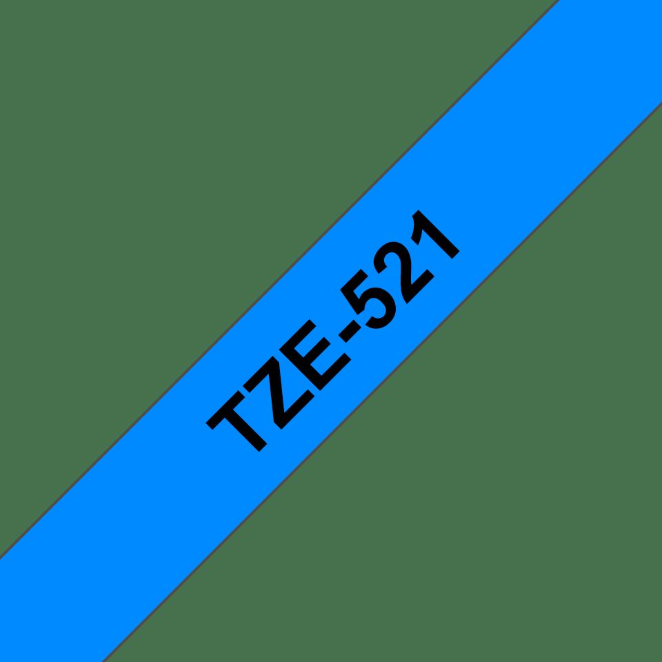 Casetă cu bandă de etichete originală Brother TZe-521 – negru pe albastru, lățime de 9mm 3