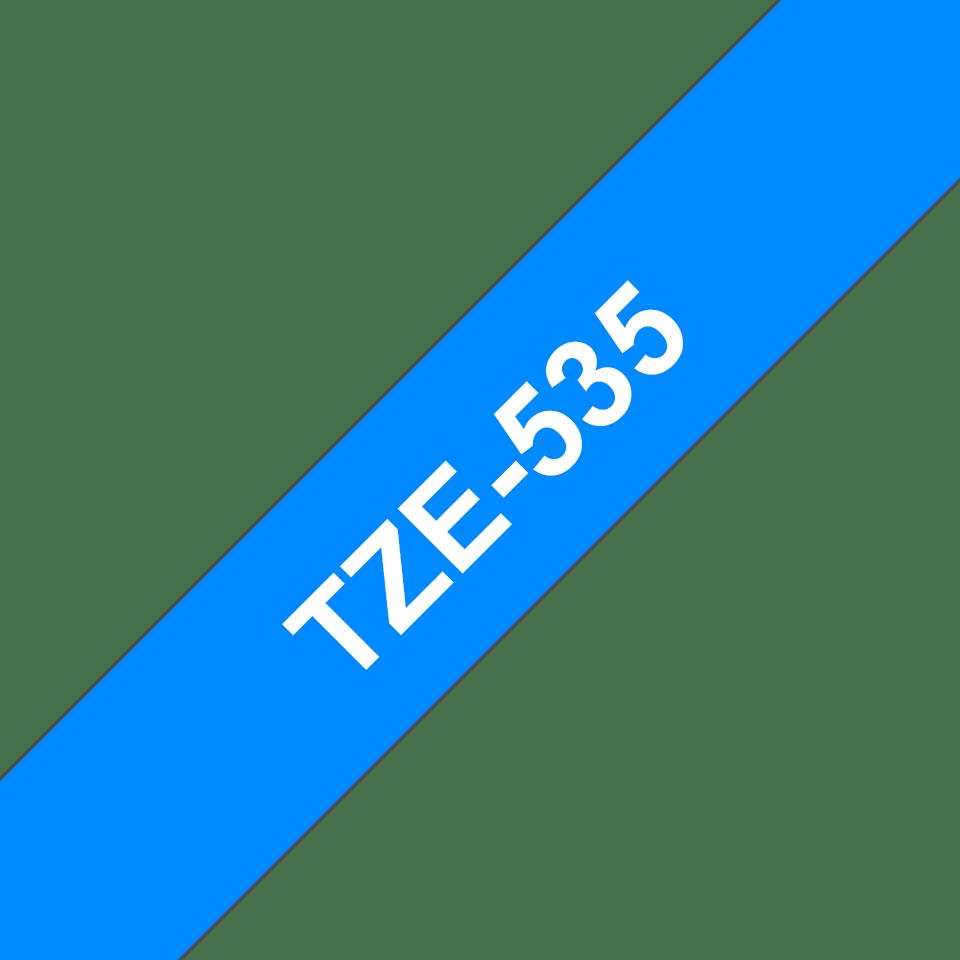 Casetă cu bandă de etichete originală Brother TZe-535 – alb pe albastru, lățime de 12mm 3