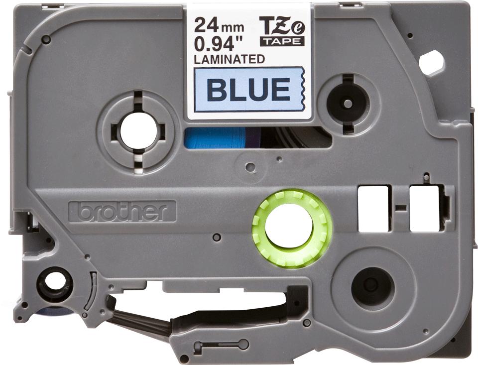 Casetă cu bandă de etichete Brother TZe-551 – negru pe albastru, lățime de 24mm