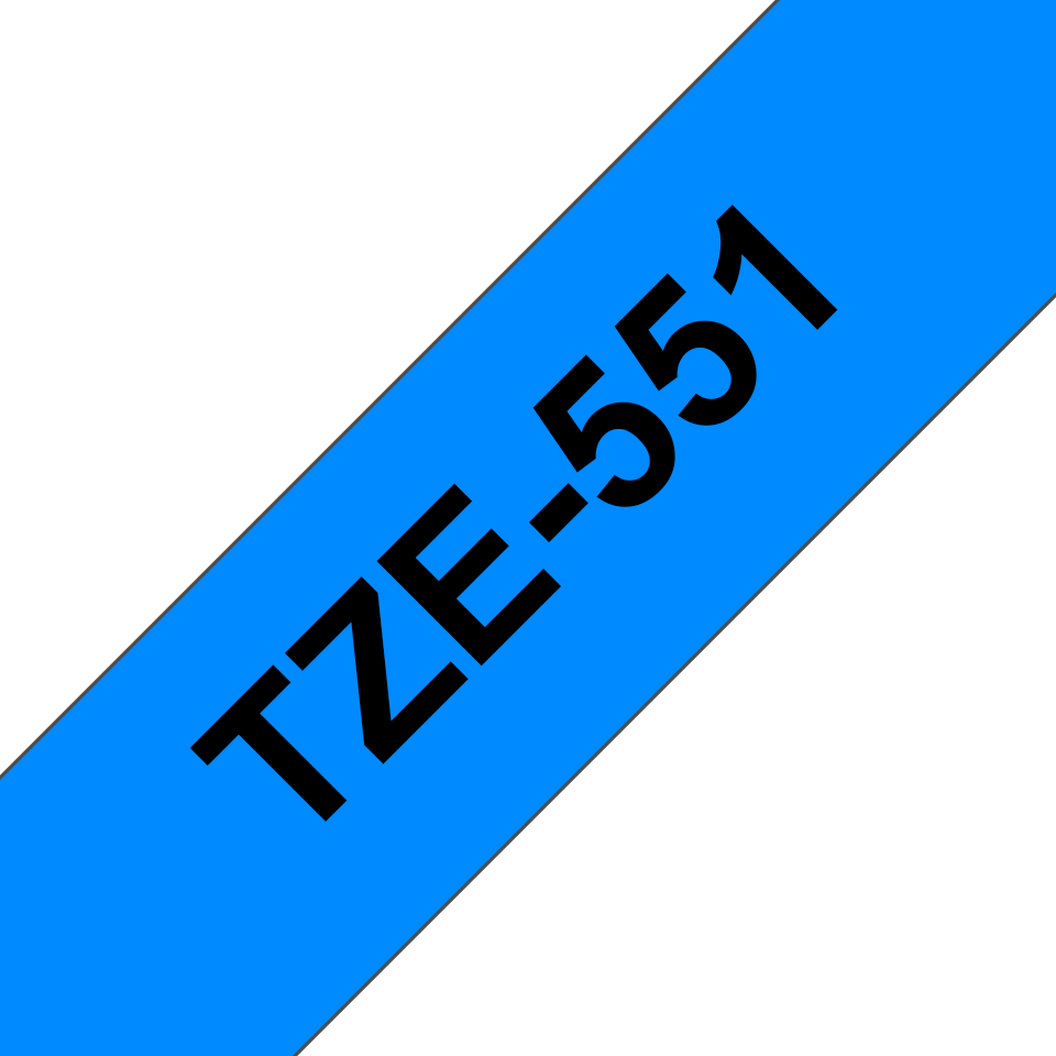 Casetă cu bandă de etichete Brother TZe-551 – negru pe albastru, lățime de 24mm 3