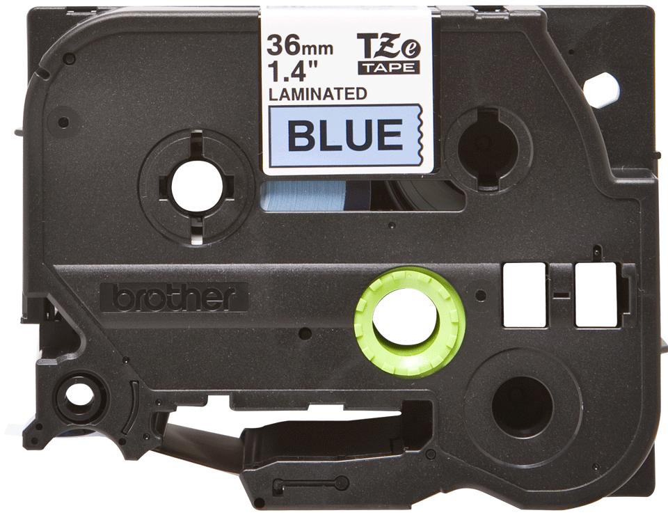 Casetă cu bandă de etichete originală Brother TZe-561 – negru pe albastru, lățime de 36mm