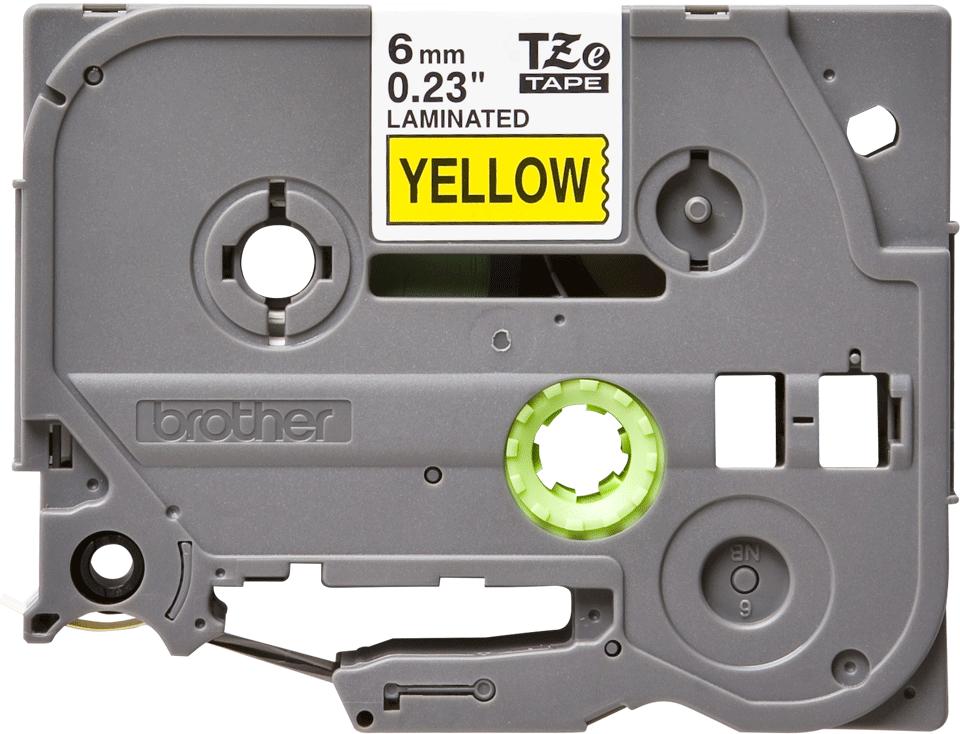 Casetă cu bandă de etichete originală Brother TZe-611 – negru pe galben, 6mm lățime 2
