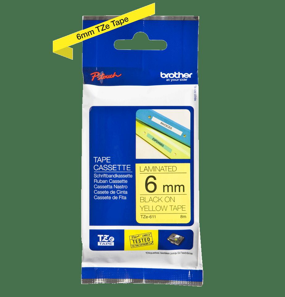 Casetă cu bandă de etichete originală Brother TZe-611 – negru pe galben, 6mm lățime 3
