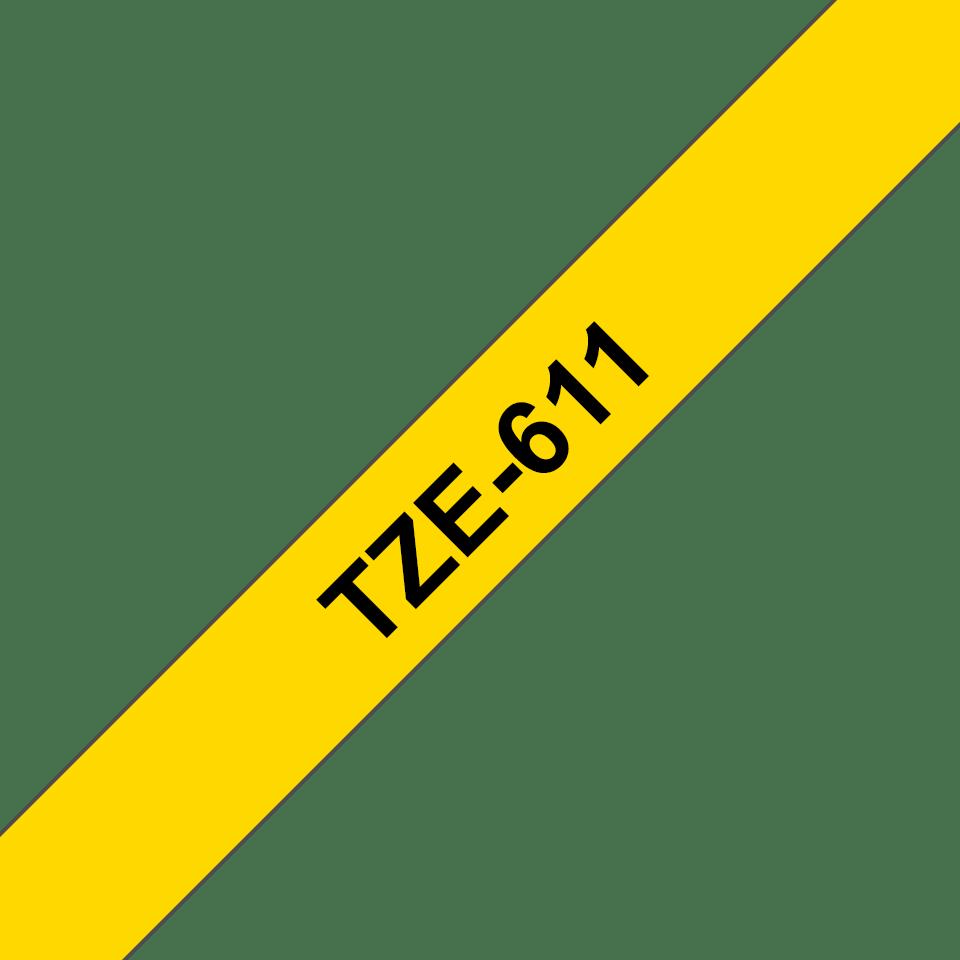 Casetă cu bandă de etichete originală Brother TZe-611 – negru pe galben, 6mm lățime