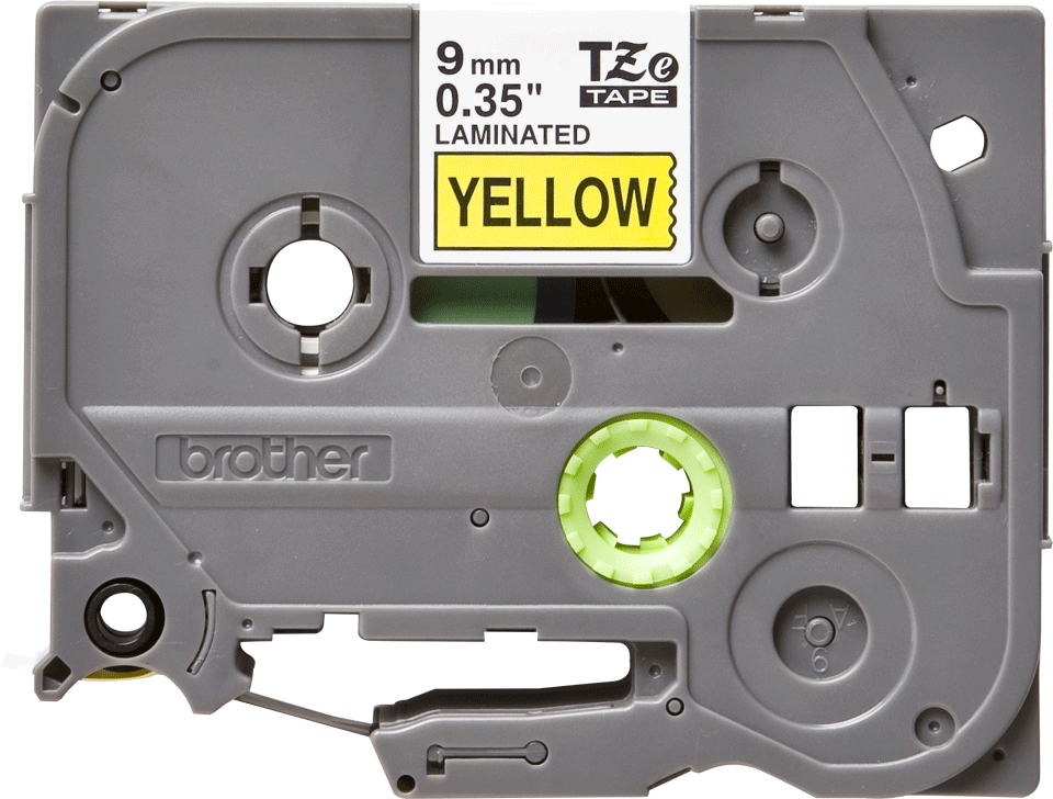 Casetă cu bandă de etichete originală Brother TZe-621 – negru pe galben, 9mm lățime