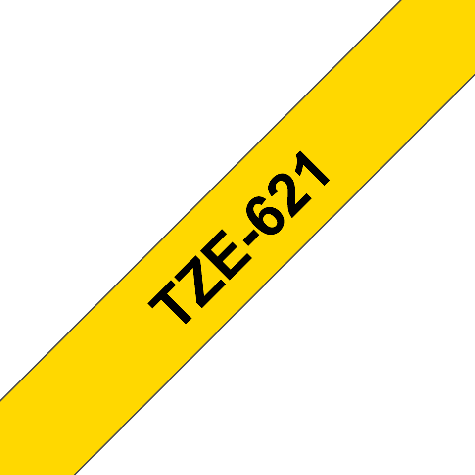 Casetă cu bandă de etichete originală Brother TZe-621 – negru pe galben, 9mm lățime 3