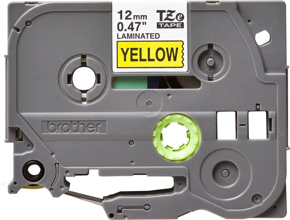Bandă de etichete originală Brother TZe-631 – negru pe galben, 12mm lățime