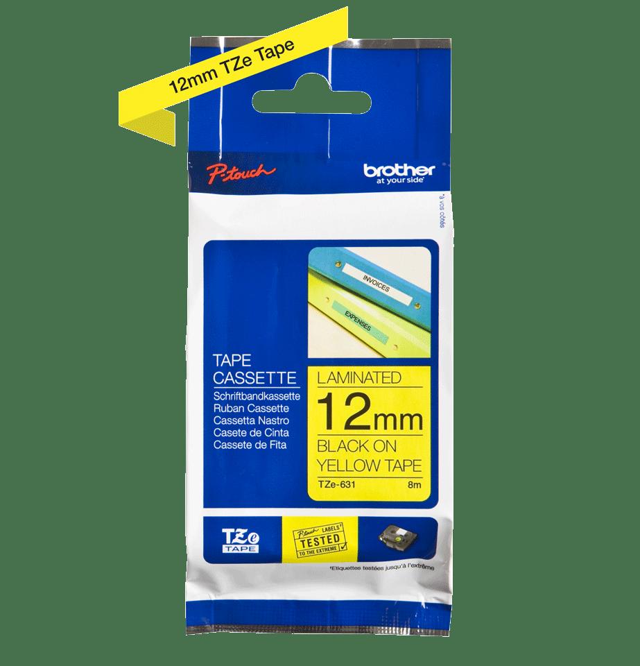 Bandă de etichete originală Brother TZe-631 – negru pe galben, 12mm lățime 2