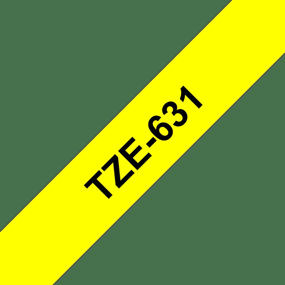 Bandă de etichete originală Brother TZe-631 – negru pe galben, 12mm lățime 3