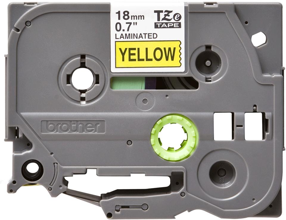 Casetă cu bandă de etichete originală Brother TZe-641 – negru pe galben, 18mm lățime