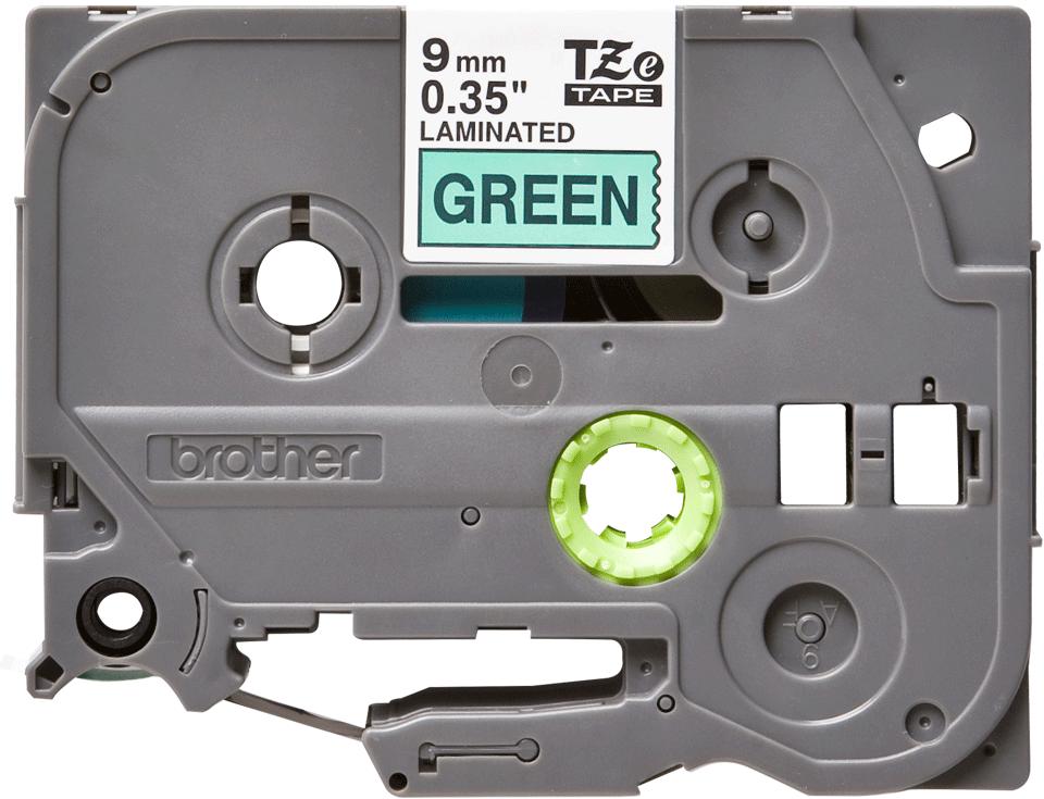 Casetă cu bandă de etichete originală Brother TZe-721 – negru pe verde, lățime de 9mm