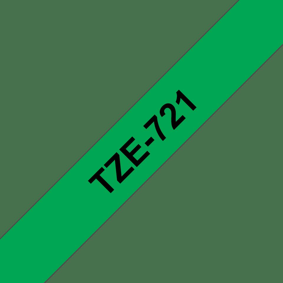 Casetă cu bandă de etichete originală Brother TZe-721 – negru pe verde, lățime de 9mm 3