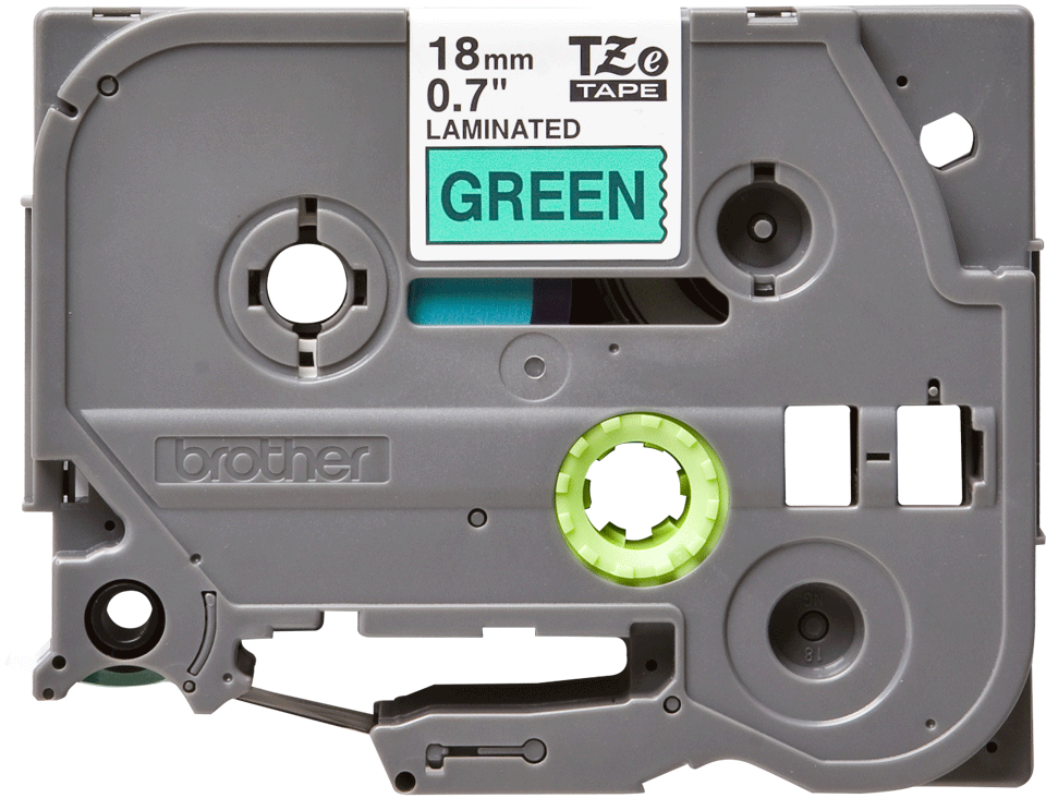 Casetă cu bandă de etichete originală Brother TZe-741 – negru pe verde, lățime de 18mm