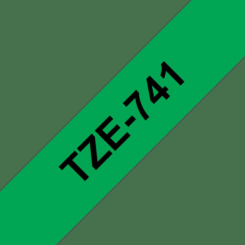 Casetă cu bandă de etichete originală Brother TZe-741 – negru pe verde, lățime de 18mm 3