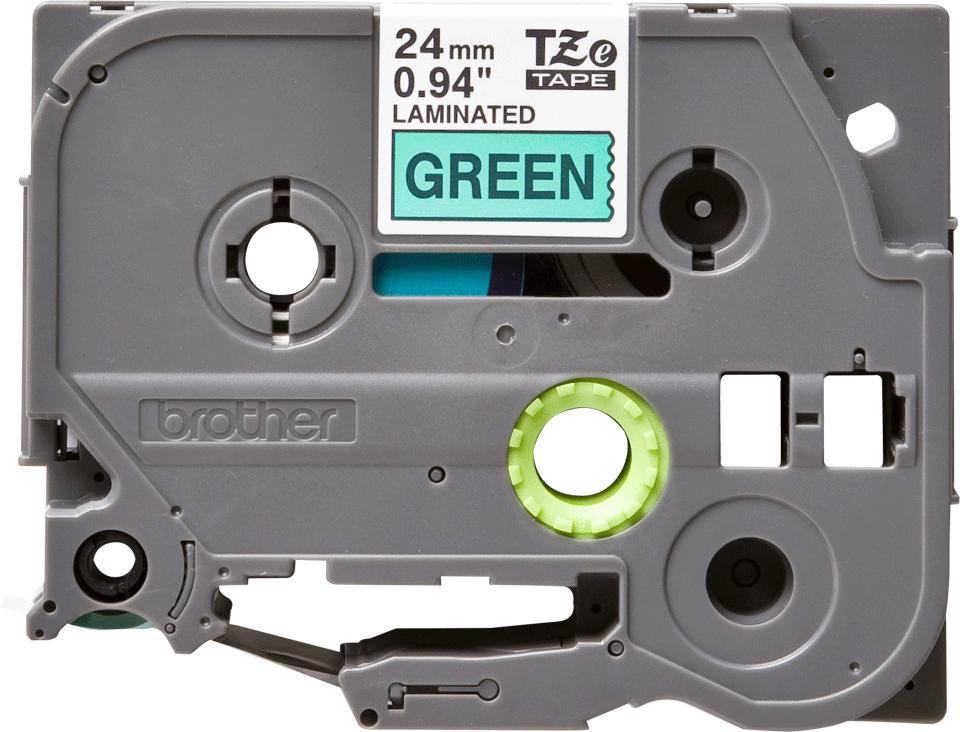 Casetă cu bandă de etichete originală Brother TZe-751 – negru pe verde, lățime de 24mm
