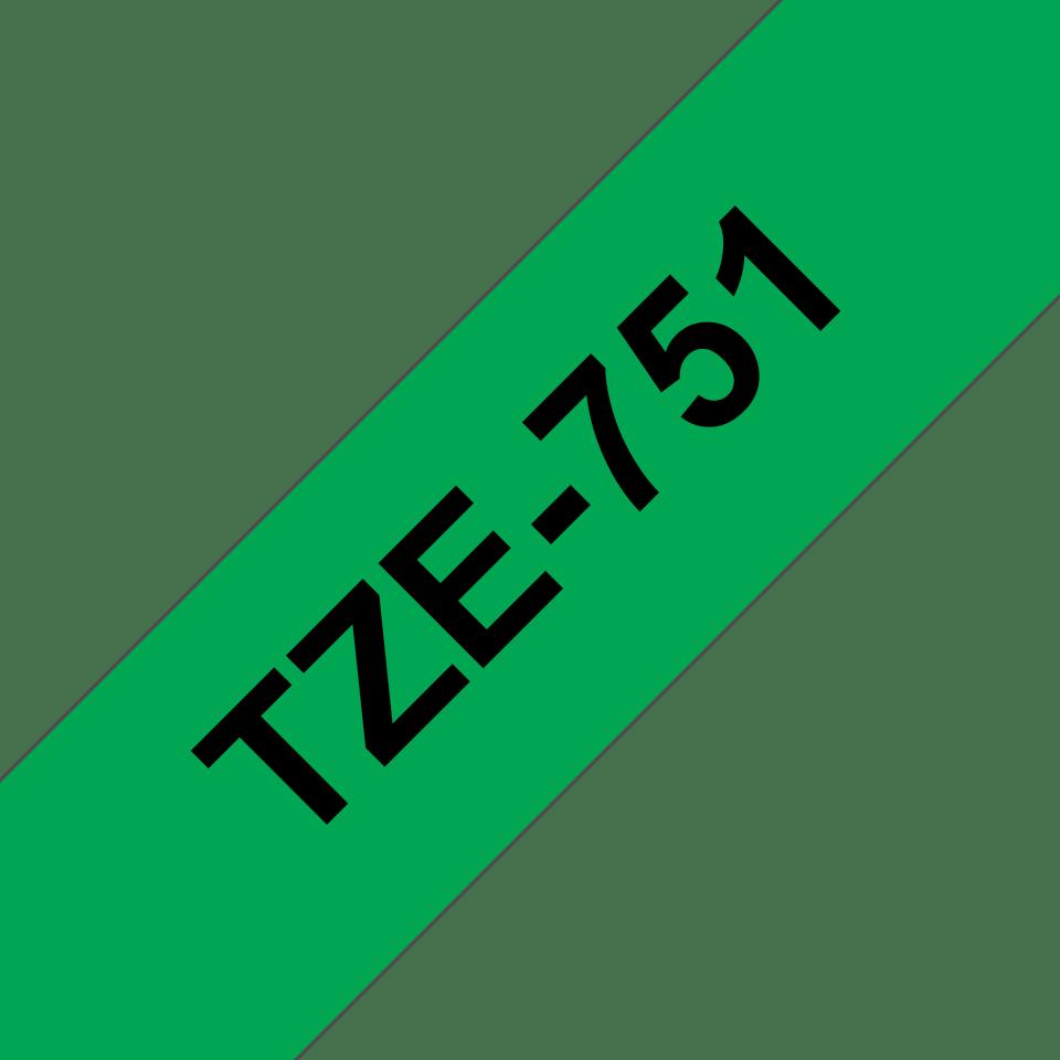 Casetă cu bandă de etichete originală Brother TZe-751 – negru pe verde, lățime de 24mm 3