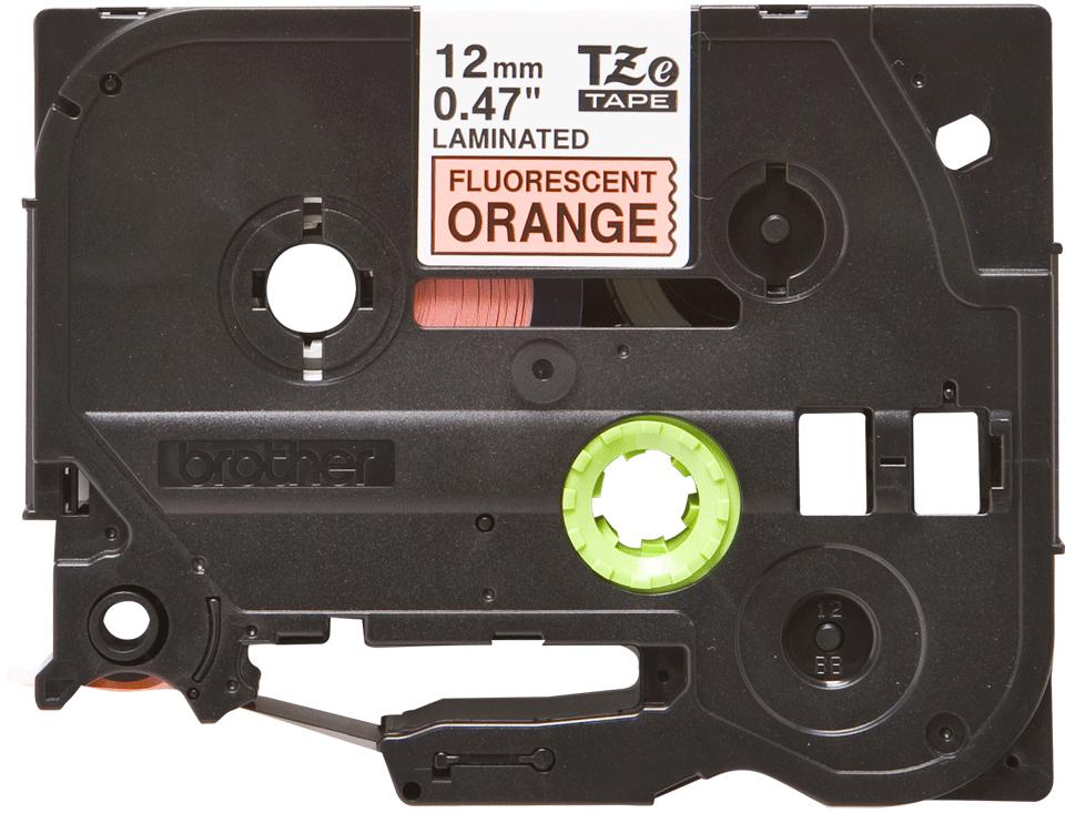 Casetă cu bandă de etichete originală Brother TZe-B31 – negru pe portocaliu fluorescent, lățime de 12mm